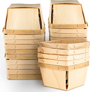 "One Pint Wooden Berry Baskets (25 Pack); for Picking Fruit or Arts, Crafts and Decor; 4"" Square Vented Wood Boxes"