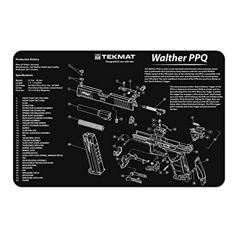 tekmat walter ppq gun cleaning mat with parts diagram and instructions armorers bench mat 11 inch x 17 inch black and grey Walther PPK Walther P99 Diagram #12