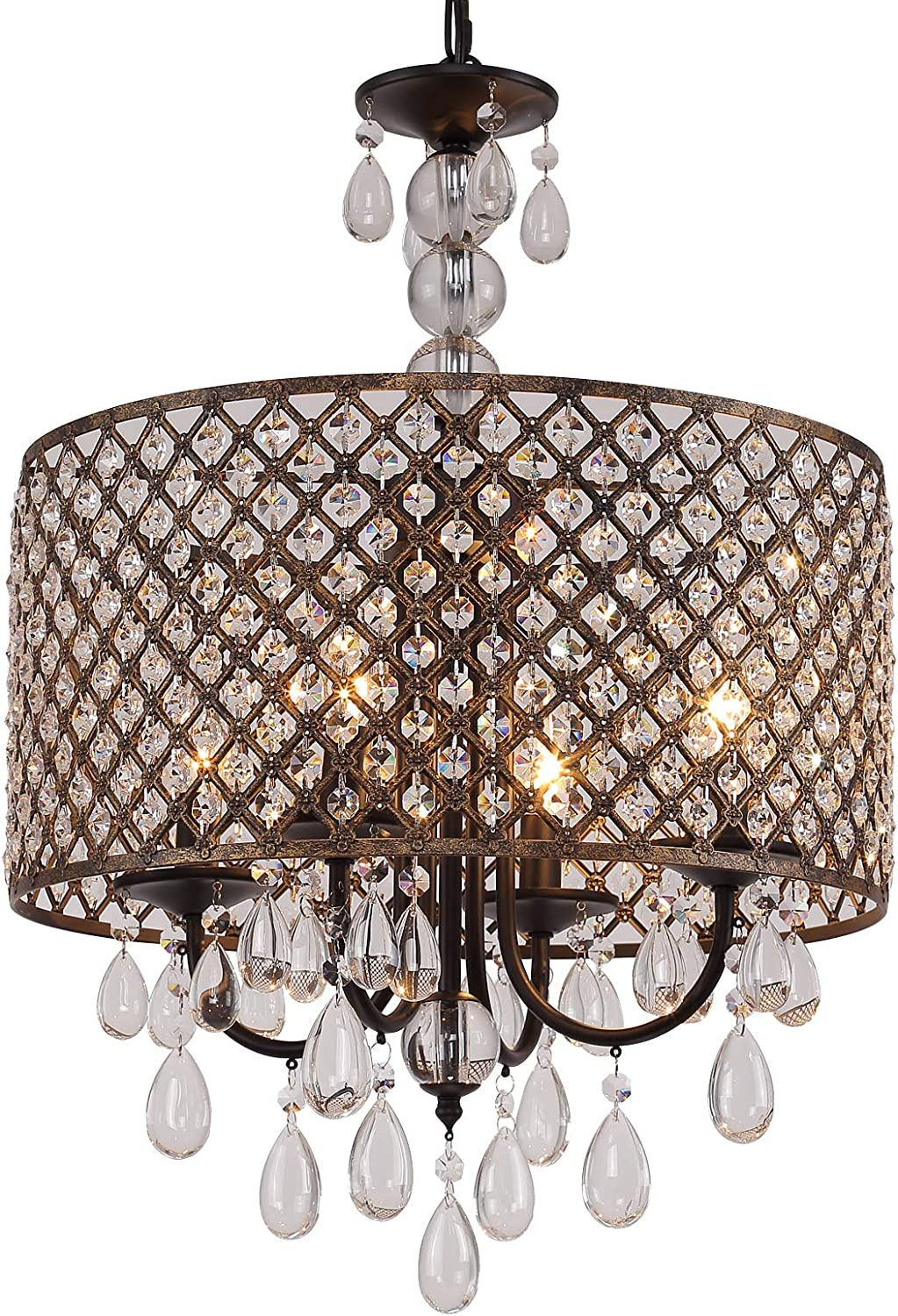 Q S Modern Round Crystal Chandelier Light Fixtures Black Antique Copper Beaded Drum Shade Pendant Hanging Lighting Perfect For Living Room Dining Room Bedroom Kitchen Foyer Entryway E12 4 Lights Home Improvement