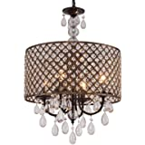 Q&S Modern Round Crystal Chandelier Light Fixtures,Black+Antique Copper Beaded Drum Shade Pendant Hanging Lighting Perfect fo