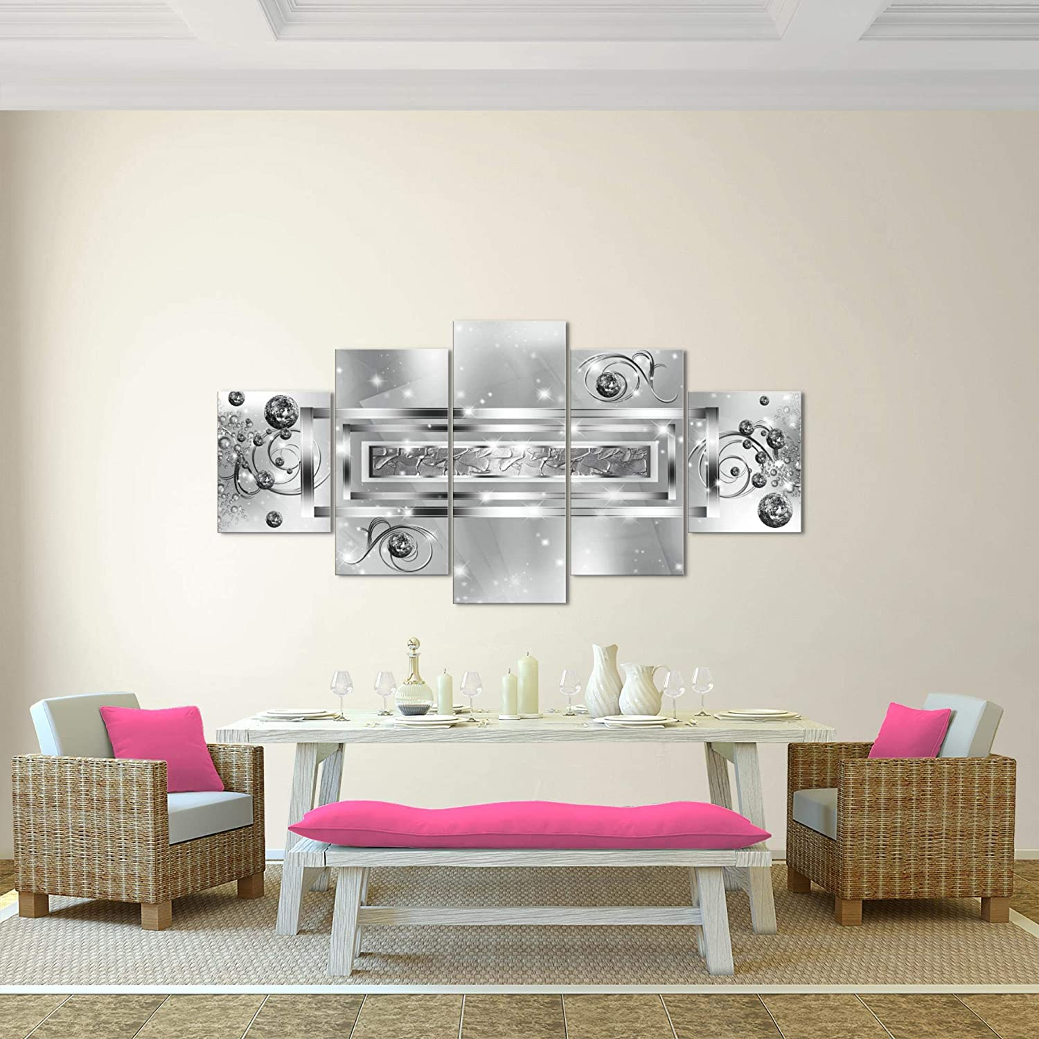 Leinwand Bild XXL Format Wandbilder Wohnzimmer Wohnung Deko Kunstdrucke Grau 5 Teilig MADE IN GERMANY Fertig zum Aufh/ängen 103851c Bilder Abstrakt Wandbild 200 x 100 cm Vlies