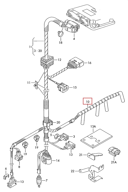 Genuine 038971220C sel Glow Plug Wiring Harness on