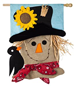 Evergreen Scarecrow Season Burlap House Flag, 28 x 44 inches