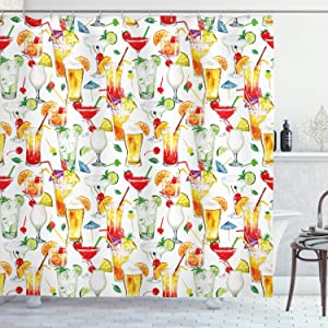 Ambesonne Tiki Bar Shower Curtain, Exotic Cocktails Pattern Summer Drinks Fresh Juicy Beverages Watercolor Artwork, Cloth Fabric Bathroom Decor Set with Hooks, 70
