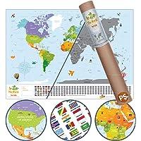 Scratch Map Kids Eyaletli Kazınabilir Çocuk İçin Eğitici Öğretici Dünya Haritası En Büyük Boy 70×100 Türkiye'de Tek