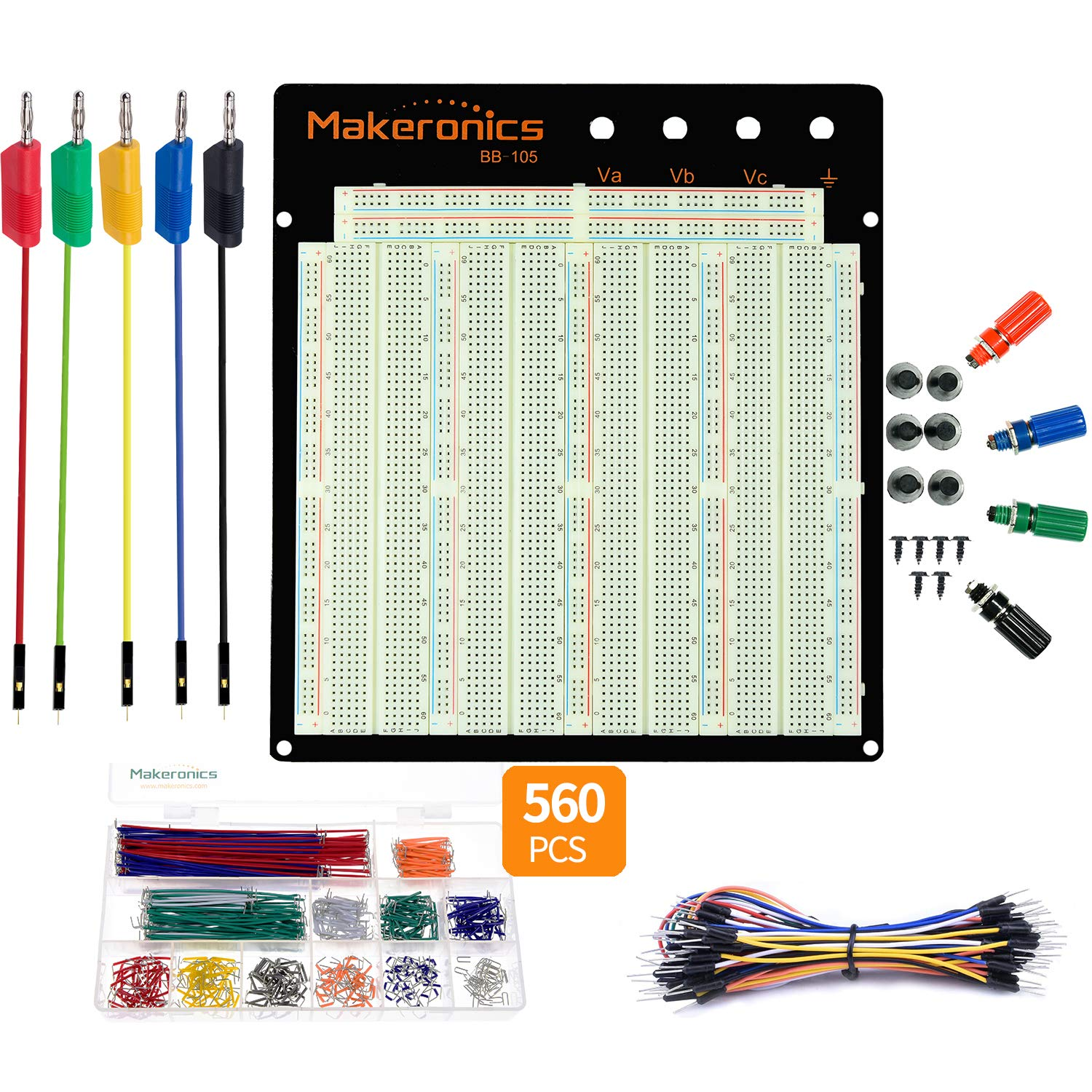 Makeronics Solderless 3220 Breadboard Jumpers Kit| 3220 Tie-Points Experiment Plug-in Breadboard + 5 PCS Banana Plug to Dupont Wires(Male) +560 U-Shape Jumper + 65 PCS 24AWG Pure Copper Jumper Wires