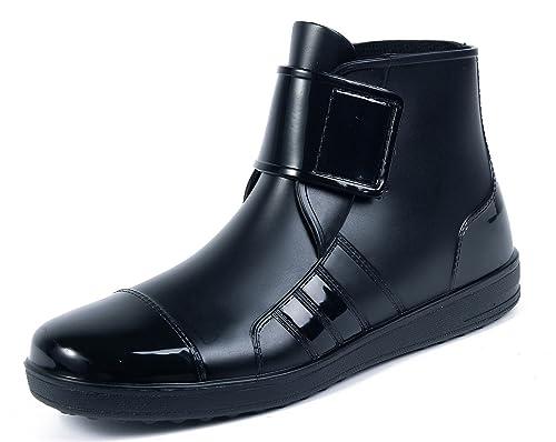 AgeeMi Shoes Botas Agua Hombre Seguridad Velcro Plegables Deporte Trabajo Botas,EuY01 Negro 44