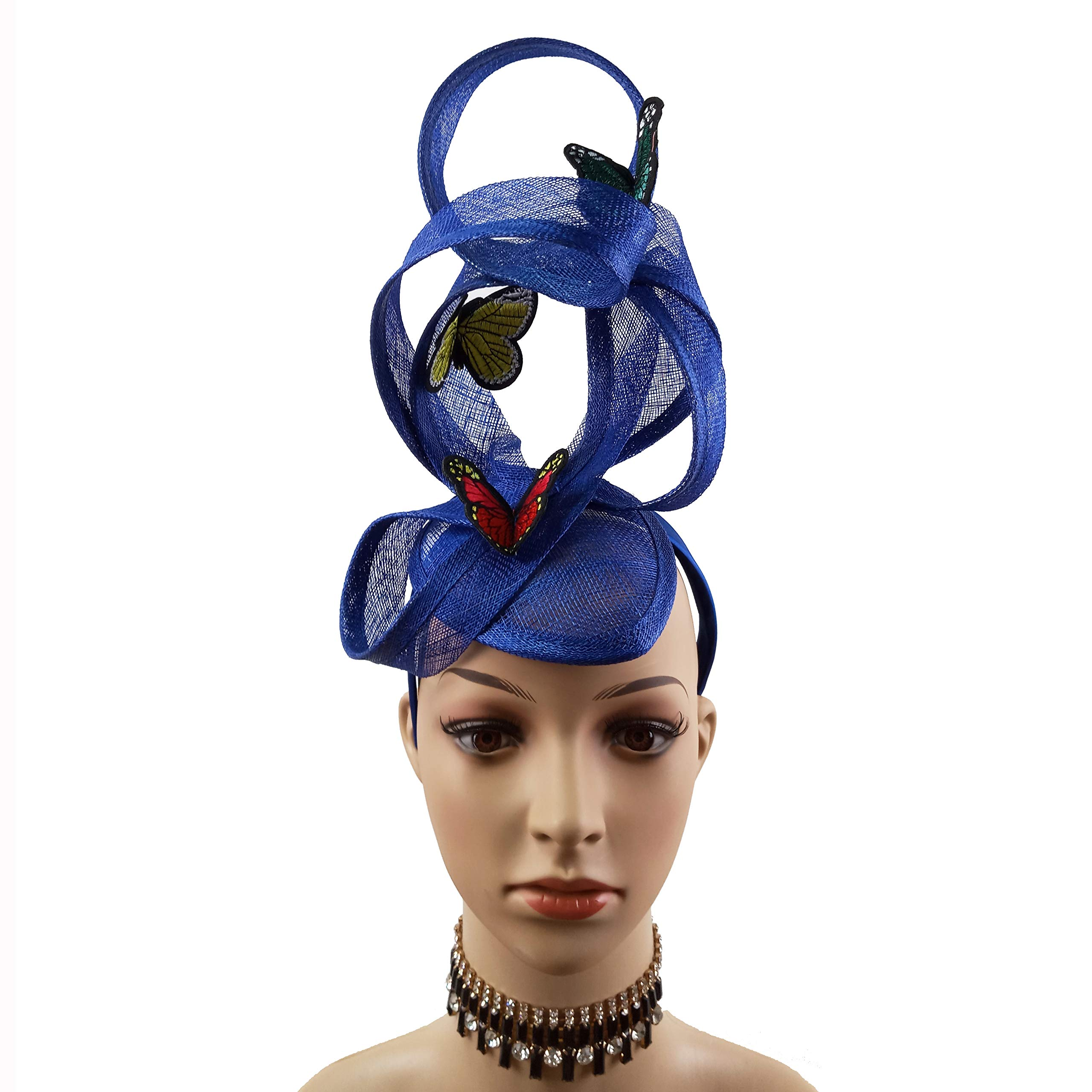 Embroidery Butterfly Ribbon Curl Exotic Sinamay Fascinator Headband Hats Derby Racing Hat (Royal Blue)