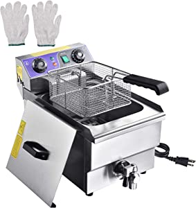 WeChef 12.4QT Commercial Electric Deep Fryer with Removable Baskets & Drain Timer Funnel Cake Restaurant Party Home