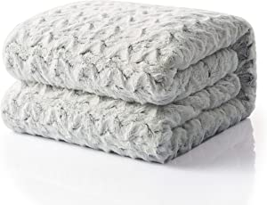 Tache Home Fashion Faux Fur Sherpa Throw Bluish Super Soft Warm Blanket, 63x87, White, Grey