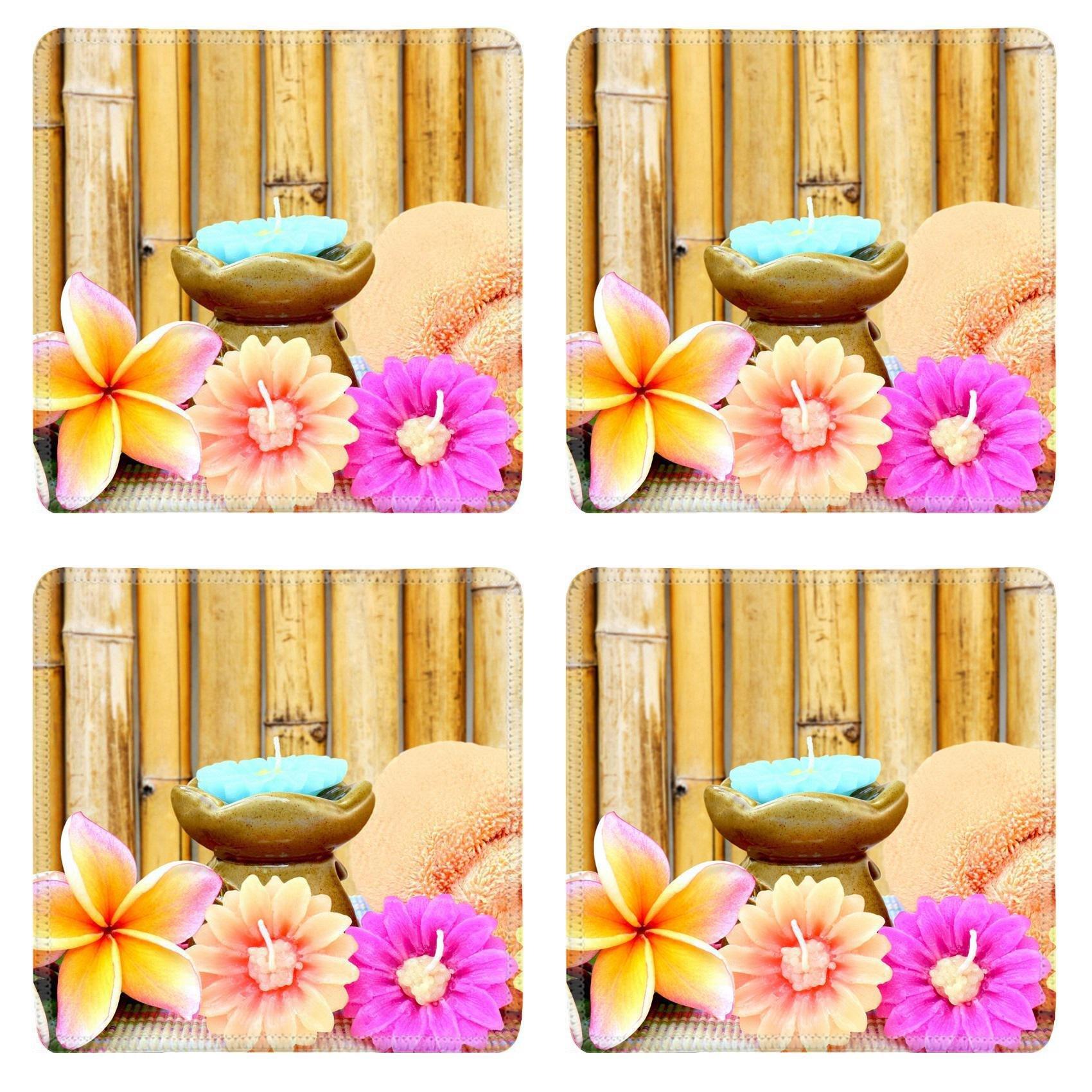 Luxlady Square Coasters Non-Slip Natural Rubber Desk Coasters Spa setting and bamboo background IMAGE ID 27500137