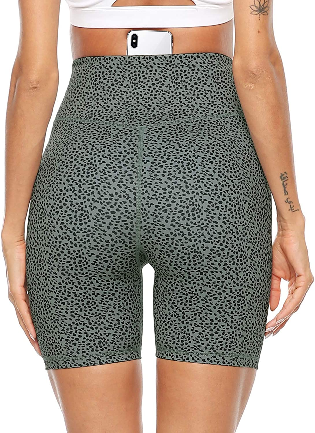 Persit Women's High Waist Print Workout Yoga Shorts with 2 Hidden Pockets, Non See-Through Tummy Control Athletic Shorts: Clothing