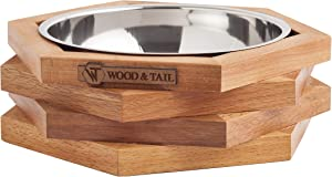 WOOD & TAIL Dog Food Bowls, Elevated Dog and Cat Stand, Premium Raised Food and Water Stand with Stainless Steel Bowl