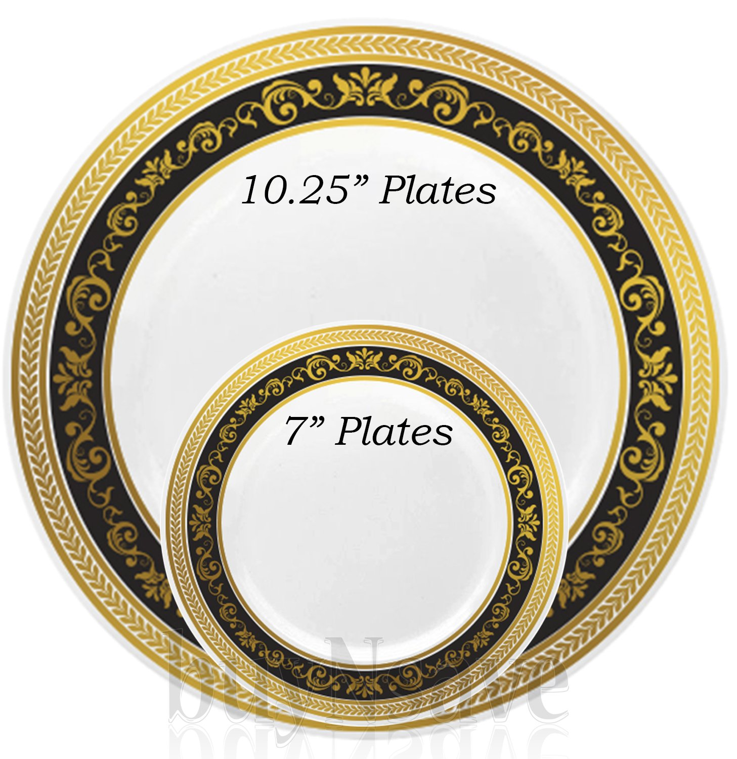 Amazon.com buyNsave Black With Gold Heavyweight Plastic Elegant Disposable Plates Wedding Party Elegant Dinnerware Royal Collection (35 ...  sc 1 st  Amazon.com & Amazon.com: buyNsave Black With Gold Heavyweight Plastic Elegant ...