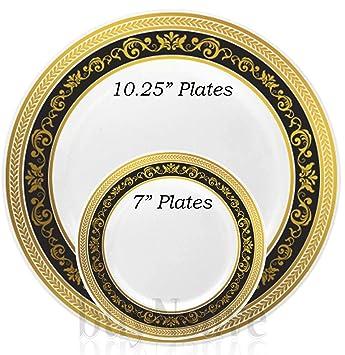 buyNsave Black With Gold Heavyweight Plastic Elegant Disposable Plates Wedding Party Elegant Dinnerware Royal  sc 1 st  Amazon.com & Amazon.com: buyNsave Black With Gold Heavyweight Plastic Elegant ...
