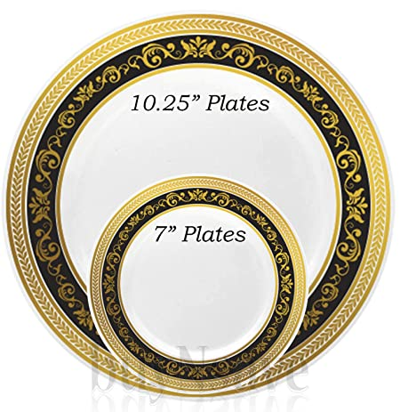 buyNsave Black With Gold Heavyweight Plastic Elegant Disposable Plates Wedding Party Elegant Dinnerware Royal  sc 1 st  Amazon.com & Amazon.com: buyNsave Black With Gold Heavyweight Plastic Elegant ...