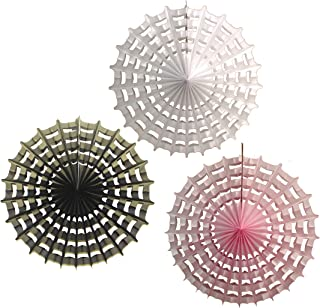 product image for 3-Piece 27 Inch Honeycomb Halloween Web Fan Decoration, Pink Mix