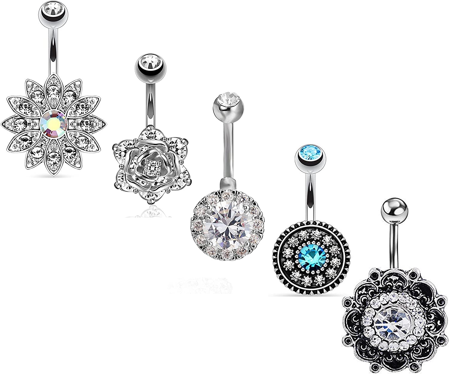 Brilliant cut solitaire OCTAGON cz diamond 925 STERLING SILVER belly ring,navel ring belly button ring