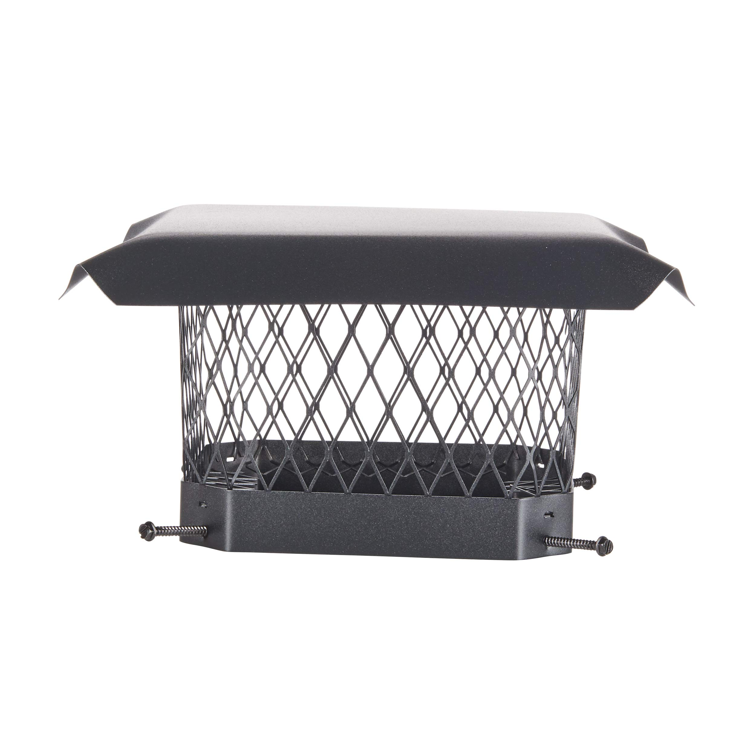 HY-C SC99 Shelter Bolt On Single Flue Chimney Cover, Mesh Size 3/4'', Fits Outside Existing Clay Flue Tile Dimensions 9'' x 9'', Black Galvanized Steel by HY-C