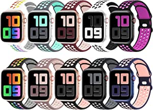 YAXIN 10 Pack Sport Bands Compatible for Apple Watch Bands 38mm 40mm 42mm 44mm, Breathable Soft Silicone Sport Replacement Wristband Women Men Compatible with iWatch Series SE/6/5/4/3/2/1, S/M M/L
