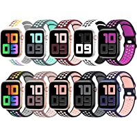 YAXIN 10 Pack Sport Bands Compatible for Apple Watch Bands 38mm 40mm 42mm 44mm, Breathable Soft Silicone Sport…