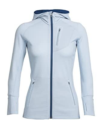 86d15f5994 Icebreaker Women's Quantum Long Sleeve Full Zip Hoodie - Ice Blue/Largo, X-