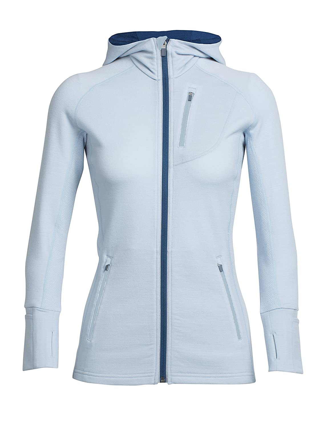 Ice bluee largo Icebreaker Women's Quantum Long Sleeve Zip Hooded Top