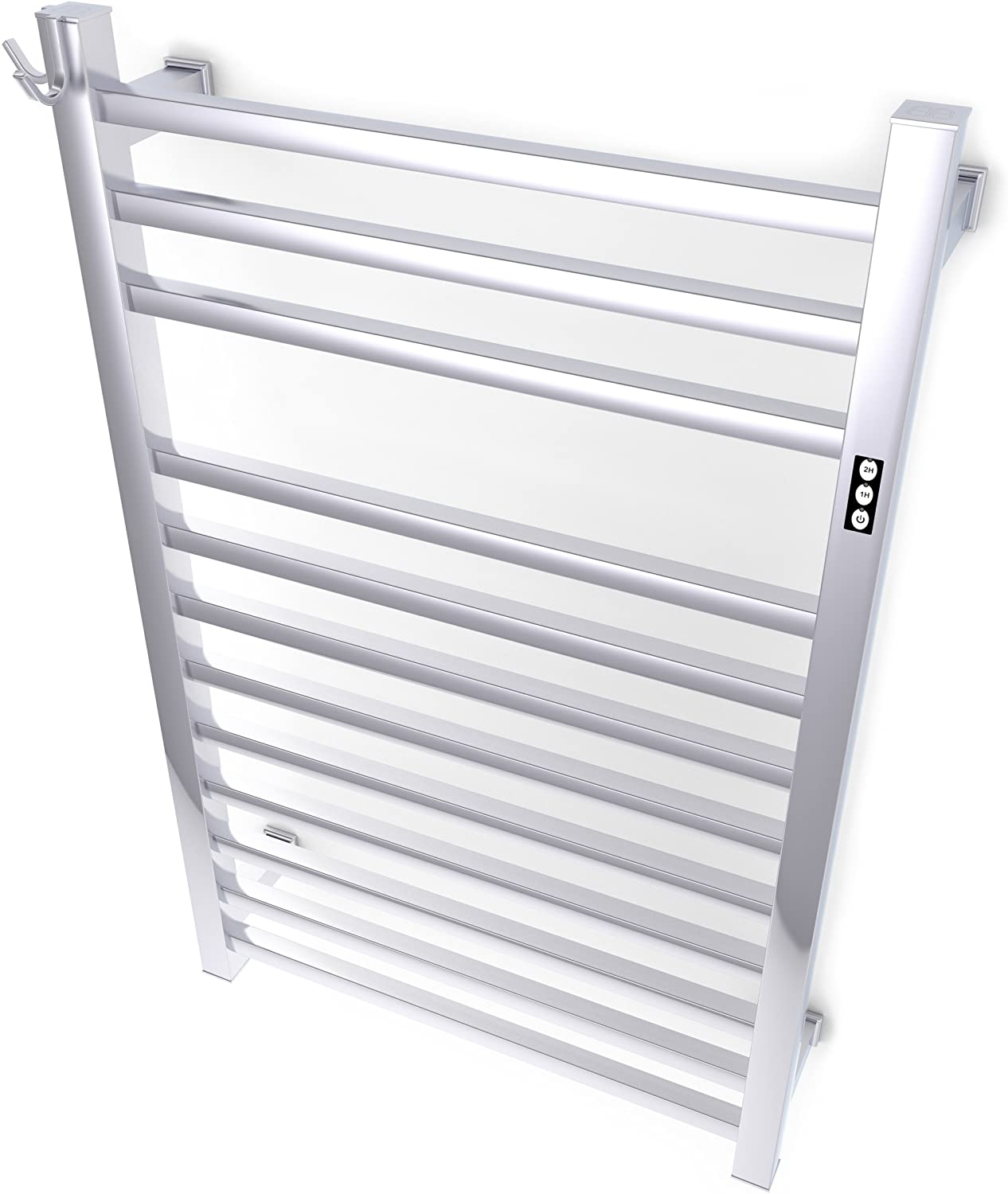 Brandon Basics Wall Mounted Electric Towel Warmer with Built-in Timer and Hardwired and Plug in Options, Stainless Steel - Brushed