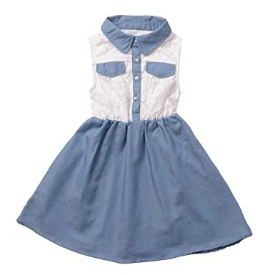 30630f7e1 Infant Baby Girls Dresses in Blue Denim With White Lace Top - Ez ...