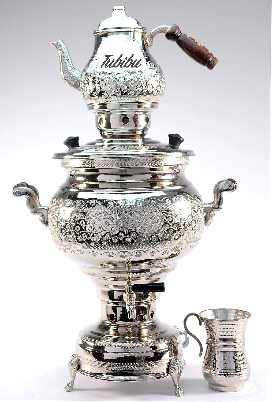 Tubibu - Copper Samovar Tea Pot Set Handmade Real Copper Samovar EU Plug 220 V (silver copper)