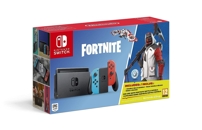 Nintendo Switch Consola Color Azul Neon Rojo Neon Fortnite