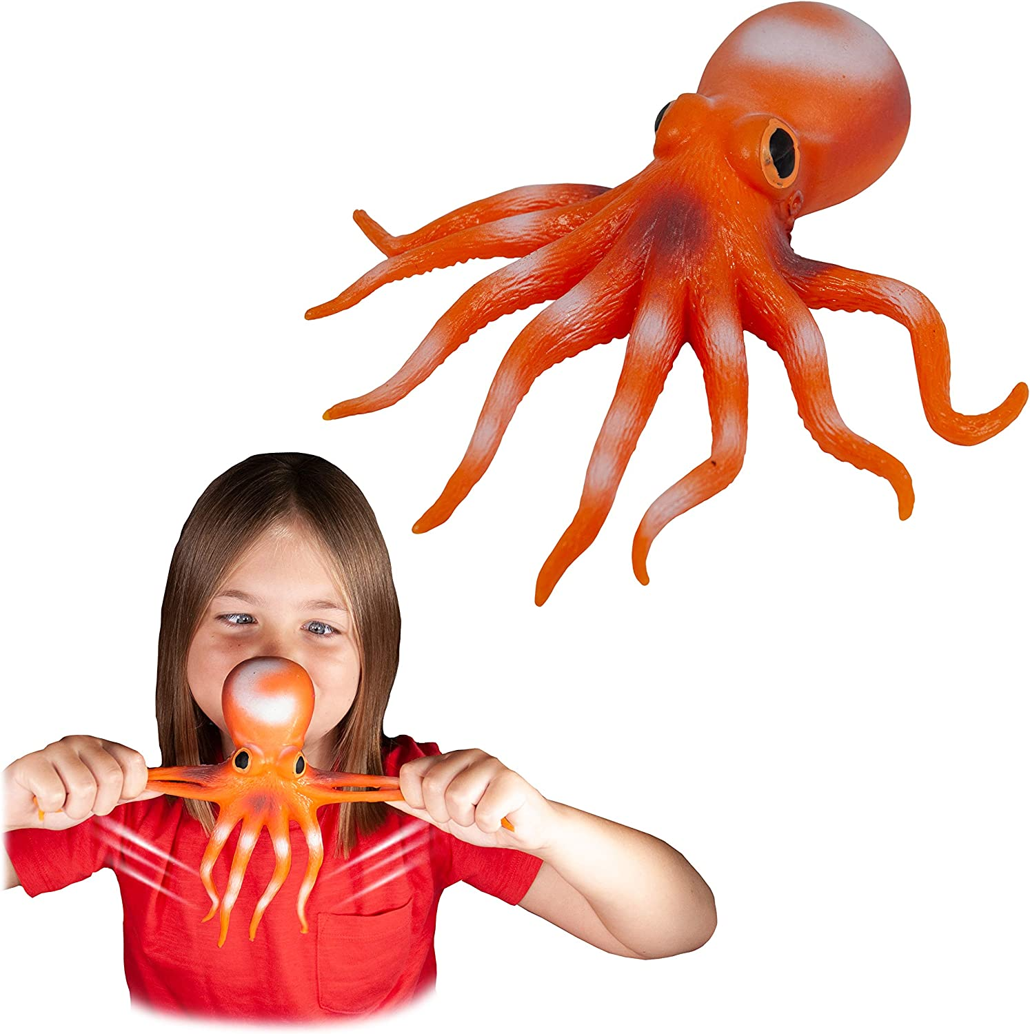 Stretchy octopus toy and image of girl playing with the octopus toy.