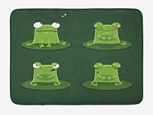 XCJHM Funny Bath Mat, Funny Muzzy Frog on Lily Pad in Pond Hunting Tasty Fly Expressions Cartoon Animal, Plush Bathroom Decor Mat with Non Slip Backing, 15.7
