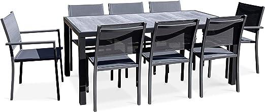 Oviala - Salón de jardín de Aluminio y cerámica, 1 Mesa, 6 sillas, 2 sillones: Amazon.es: Jardín