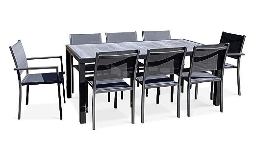 Oviala Salon de Jardin Aluminium et céramique, 1 Table, 6 ...