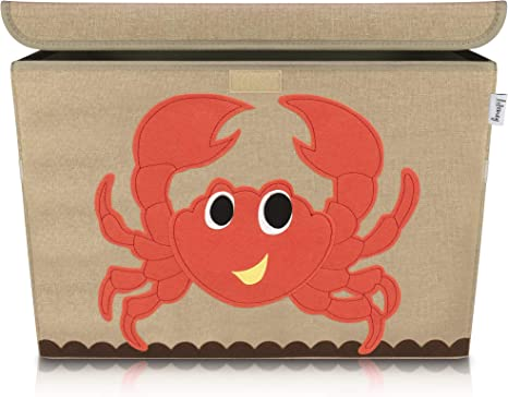 Image of Lifeney baul juguetes infantil 51 x 36 x 36 cm I Caja con tapa para la habitación de los niños I almacenaje juguetes I caja juguetes almacenaje I baules infantiles (Cangrejo)
