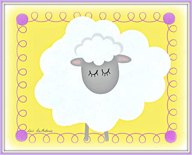 Amazon.com: Cute sheep art print Whimsical Lamb nursery decor baby ...