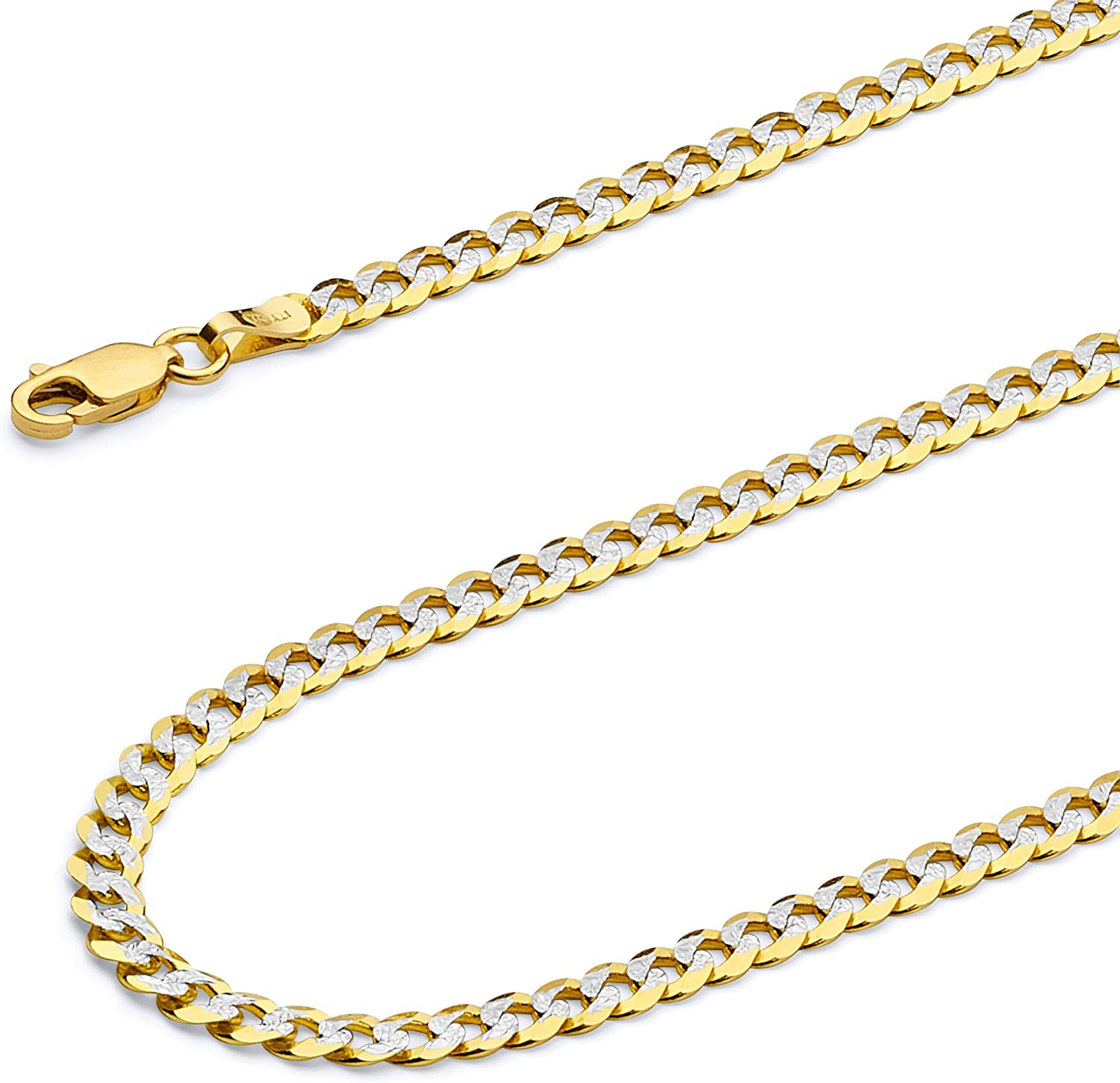 Wellingsale 14k Yellow Gold Polished White Pave 3mm ID Figaro Bracelet with Lobster Claw Clasp 6