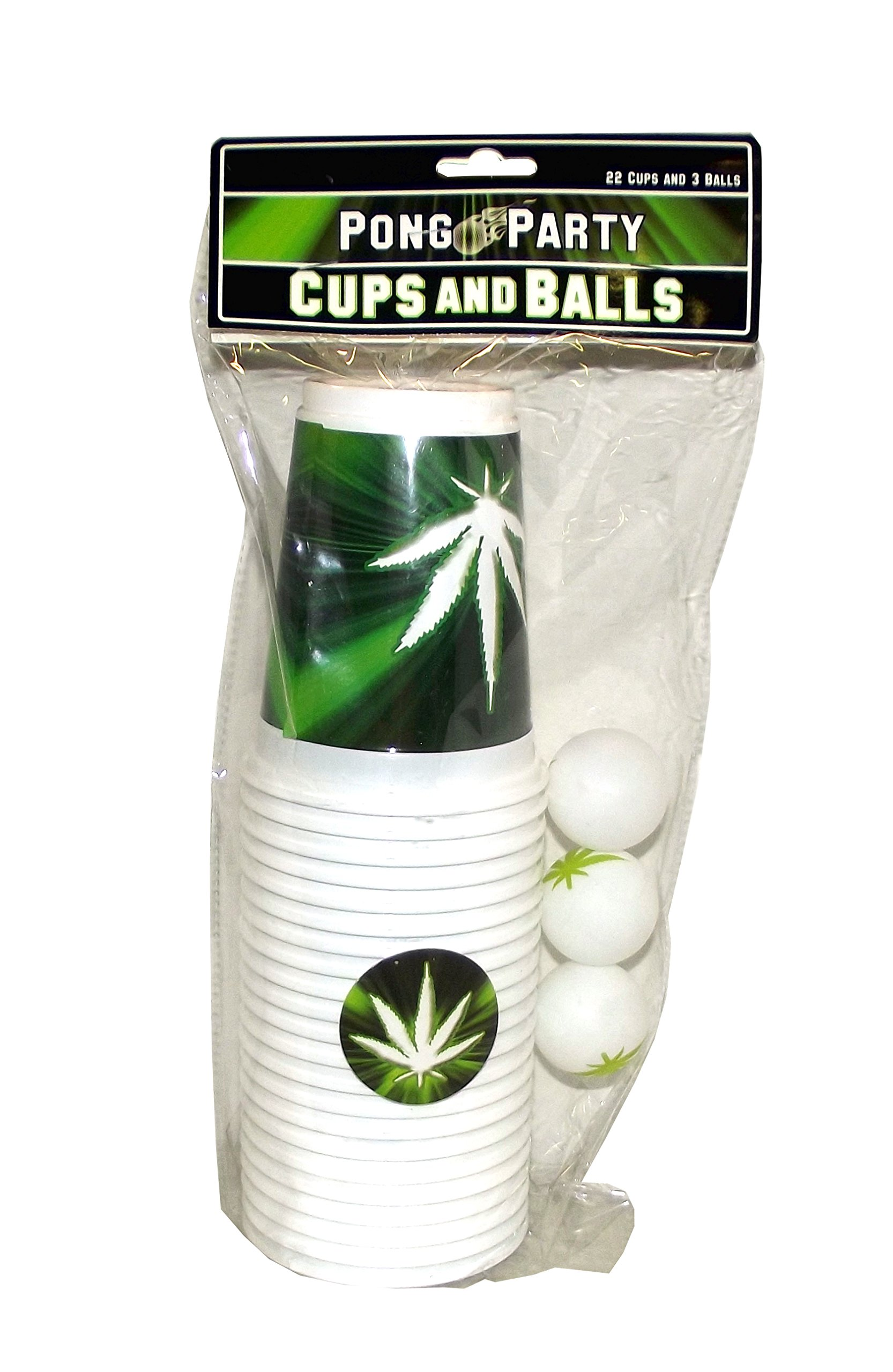Island Dogs Pong Party Marijuana Themed Cups and Balls Set, 25 Pieces