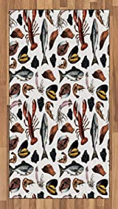 Ambesonne Lobster Area Rug, Vintage Delicious Seafood Elements as Squid Salmon Caviar Fillet Shrimp and Oyster, Flat Woven Accent Rug for Living Room Bedroom Dining Room, 2.6' x 5', Multicolor