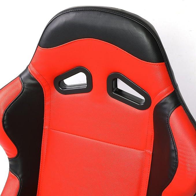 Par de rs-003-rd-bk PVC piel reclinable Racing asiento + Naranja ...