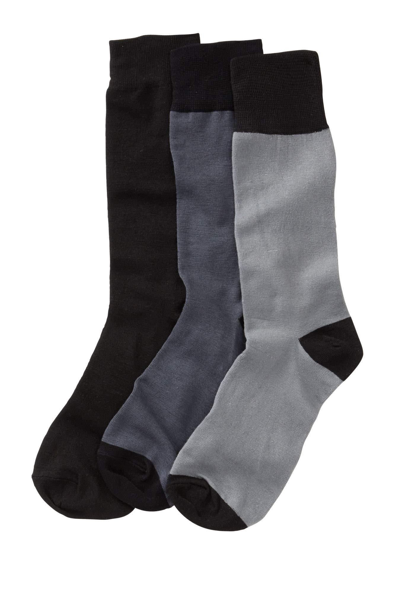 Kingsize Men's Big & Tall Contrast Dress Socks 3-Pack, Black Grey Big-L