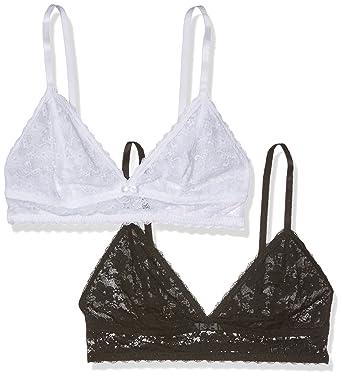 nouveau concept 900d2 2630f DORINA Sonia - Bralette tout dentelle femme - Soutien-gorge triangle sans  armature D17255A1-2P (Lot de 2) Noir/Blanc