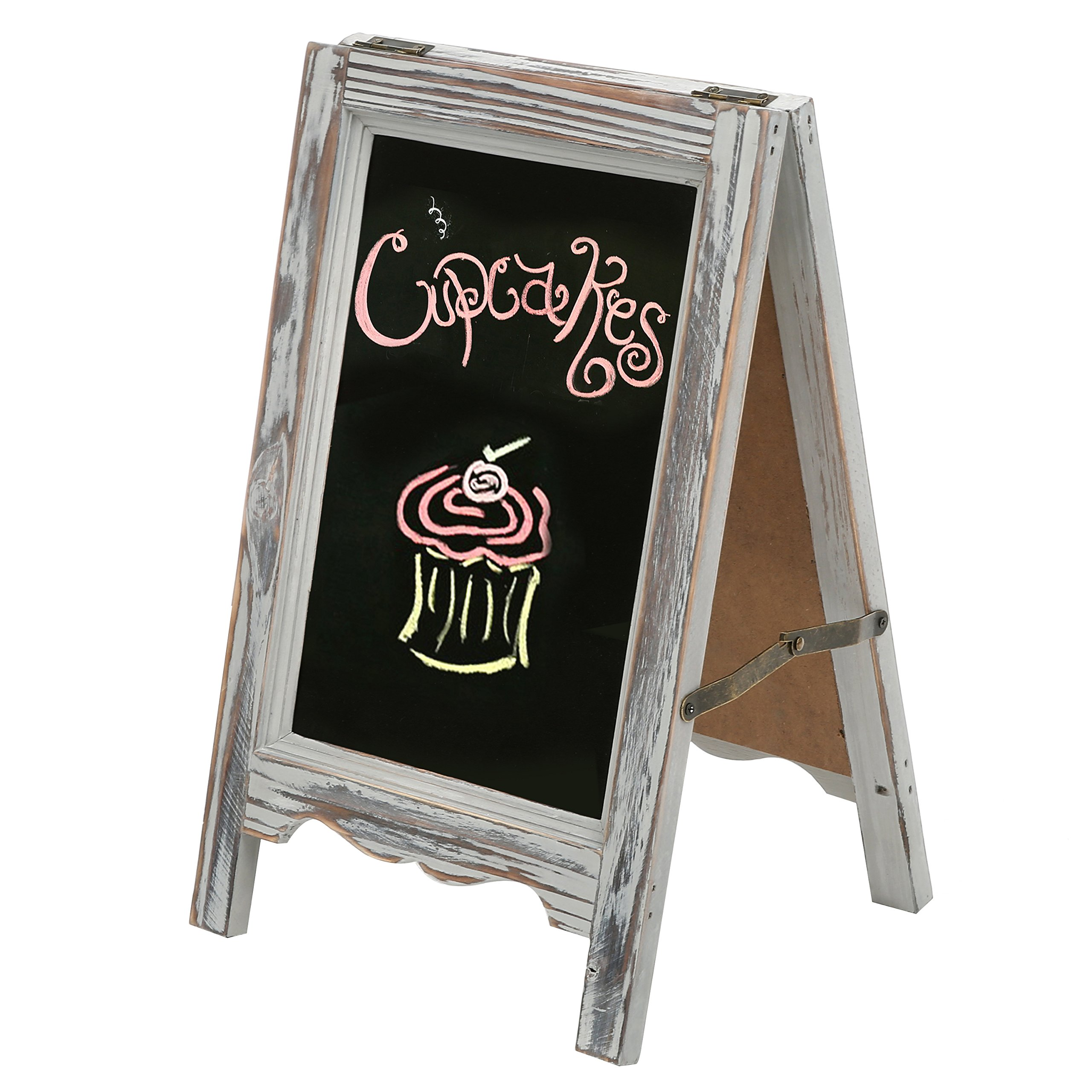 MyGift 15-inch Rustic Wood A-Frame Double-Sided Chalkboard Easel with Scalloped Bottom, Vintage Gray