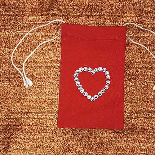 "set of 16 Heart Beaded Red Cotton 2 sided Drawstring Pouch Favor bag 4"" X 6"""