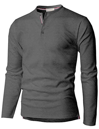 d47f2859bbfe0 H2H Men s Slim Fit Long Sleeve Plain Cotton Casual Henley Neck T-Shirts at  Amazon Men s Clothing store