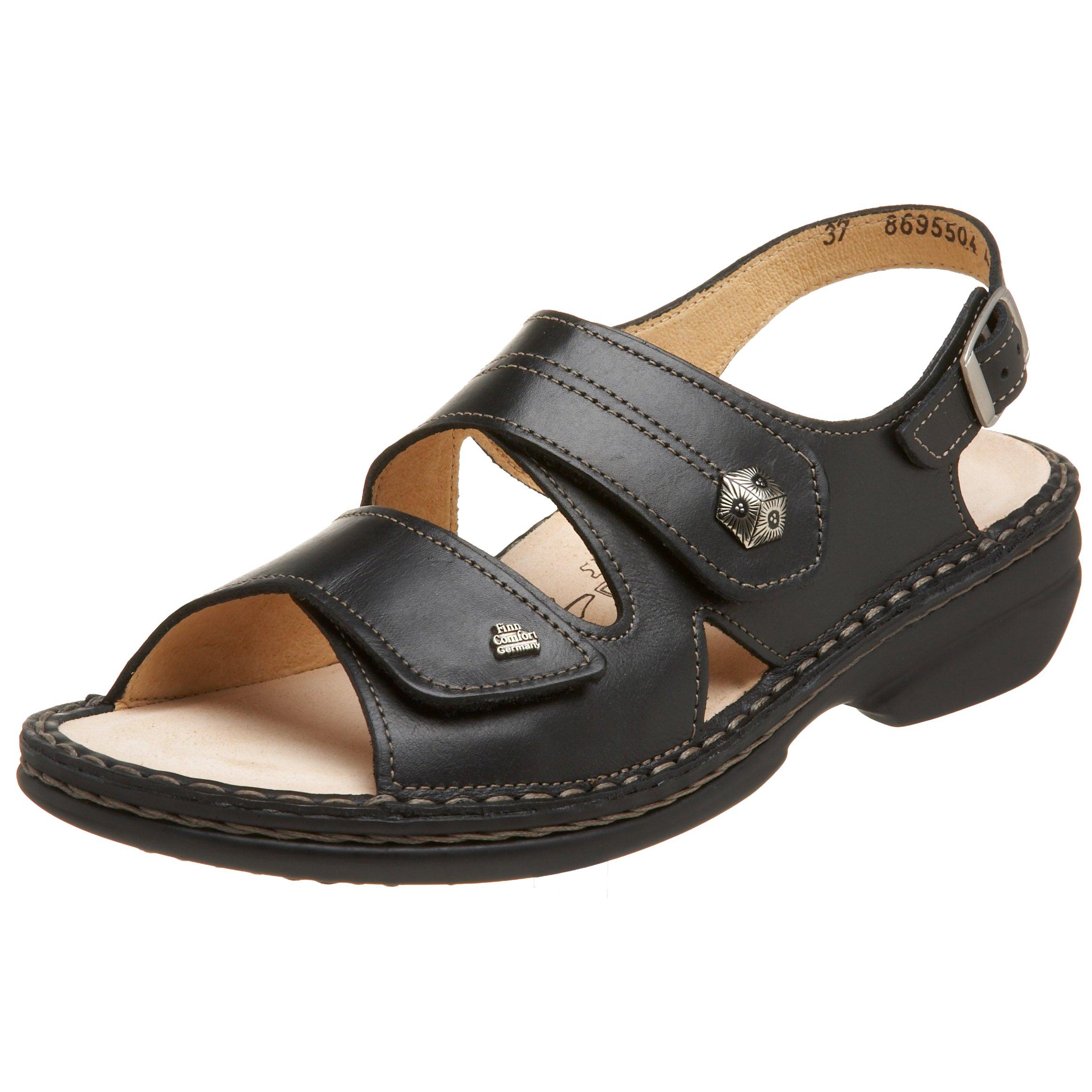 Finn Comfort Women's Milos Soft Sandal,Black Nappa,41 EU (US Women's 10 M)