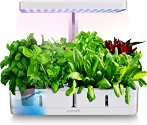 SereneLife Smart Starter Kit-Hydroponic Herb Garden Indoor Plant System w/Height Adjustable LED Grow Lights, 8 pods, Automatic Timer-Home Kitchen, Bedroom, Office SLGLF120