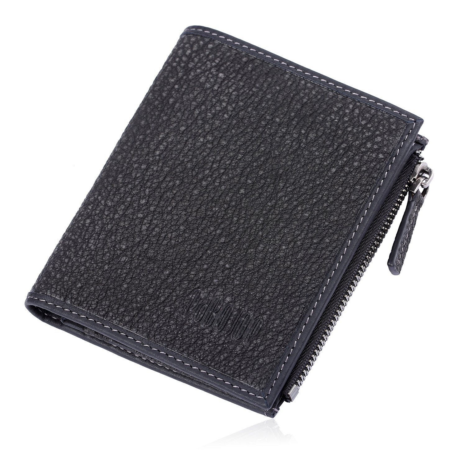 Mens Wallet Genuine Nubuck Leather Bifold Zipper Coin Purses EQUALITY CITY Pabojoe
