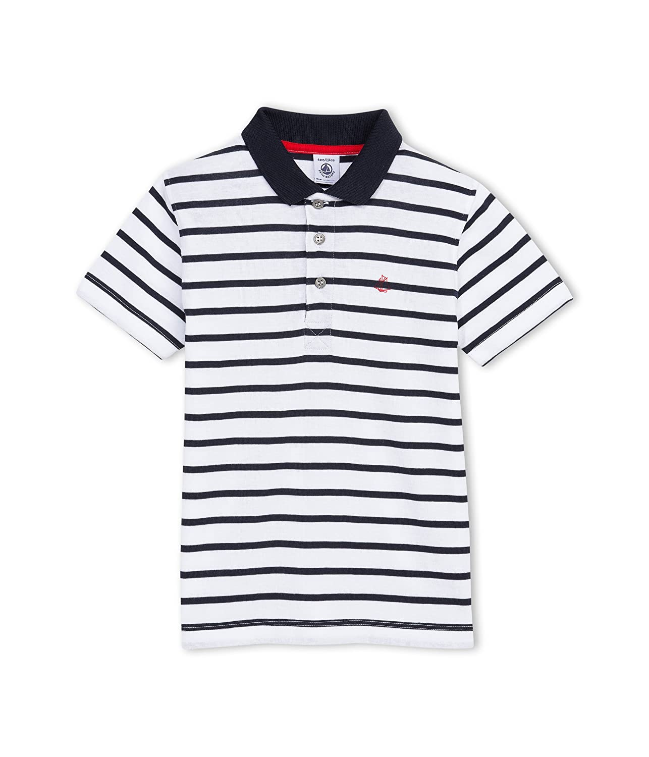 Toddler Kids Petit Bateau Striped Polo White//Navy-4 Years